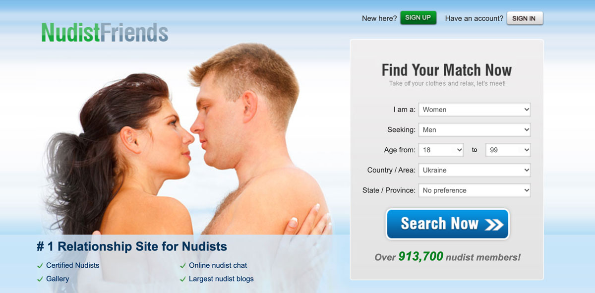 NudistFriends main page